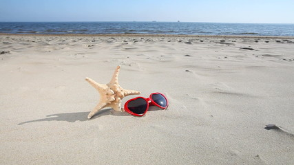 Sunglasses flip flops and starfish on beach.