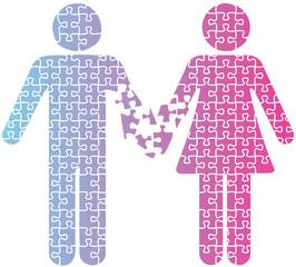 Couple love separation people puzzle