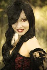 long-haired girl vampire Halloween
