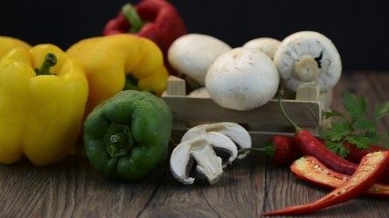 Vegetables on wooden box