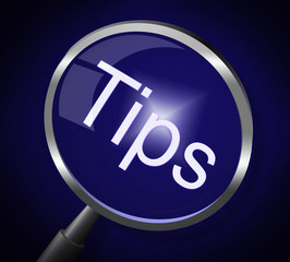 Magnifier Tips Represents Research Assistance And Instructions