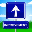 Improvement Sign Means Upward Progress And Advancing