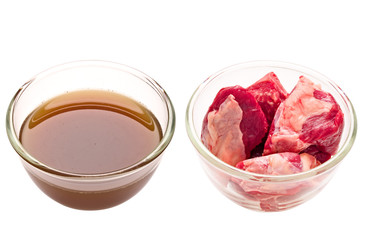 beef cubes and stock isolated