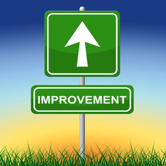 Improvement Sign Indicates Message Arrow And Advance