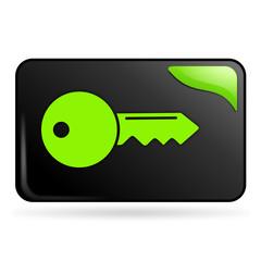 clef sur bouton web rectangle vert