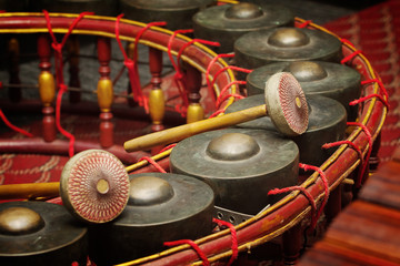 Thai musical instrument ,Gong Instrument for rhythm( select focu