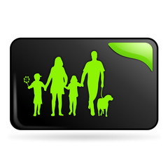 famille sur bouton web rectangle vert