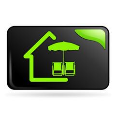 location de vacances sur bouton web rectangle vert