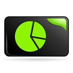 statistiques camembert sur bouton web rectangle vert