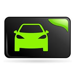voiture sur bouton web rectangle vert