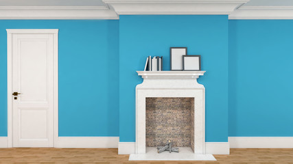 interior in blue with a fireplace, books and empty pictures. 3D