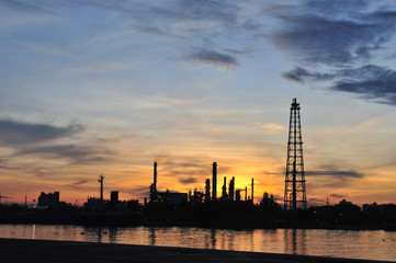 Refinery plant at sunrise