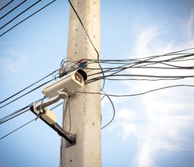 image of cctv camera on electric pole
