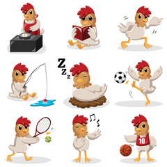 Chicken characters doing different  activities