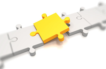Focus on a yellow puzzle pieces