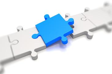Focus on a blue puzzle pieces