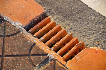 The close view of drainage holes for bridge