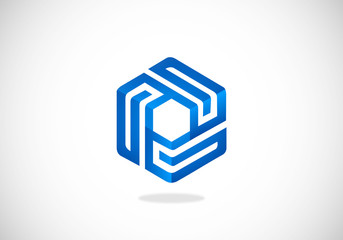 cube geometry line 3D vector logo