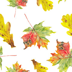 watercolor autumn leafs pattern