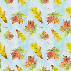 watercolor autumn leafs pattern