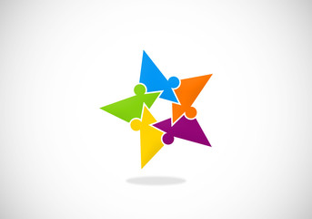 star puzzle people diversity vector logo
