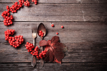 old spoon and fork on autumnal background