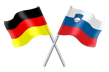 Fahnen: Deutschland und Slowenien