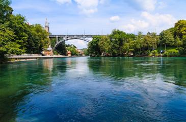 Metal bridge across Aare river in Bern, Switzerland