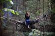 beautiful women in autumn forest