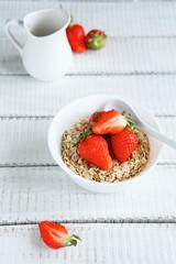 breakfast in a white bowl