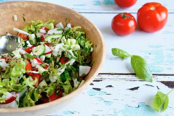 vegetable salad in a large bowl