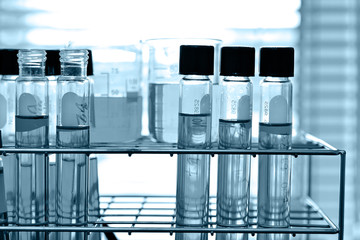 Laboratory research, test tube in rack