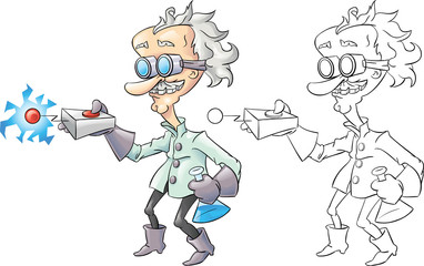 Cartoon mad scientist isolated