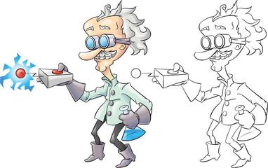 Cartoon mad scientist isolated