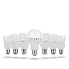Fluorescent Bulbs and LED Bulb Concept