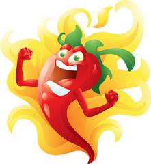 Red hot pepper on fire cartoon