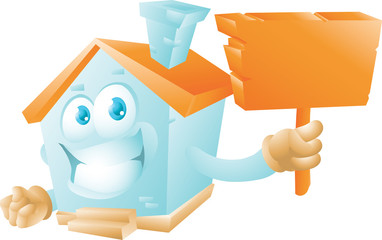 House cartoon character with sign