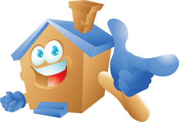 House cartoon character pointing