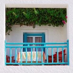 Greece, Milos island, picturesque house terrace