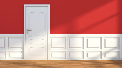Red white classic interior with door