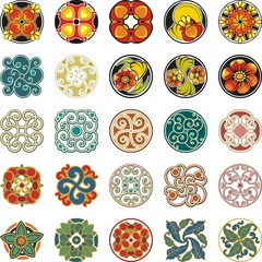 Floral Ornamental Circle Designs Set