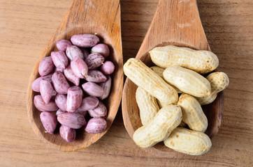 peanut on the wooden ladle