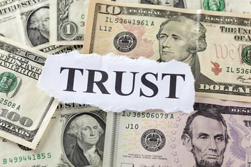 """Word """"Trust"""" on Dollar Bills"""