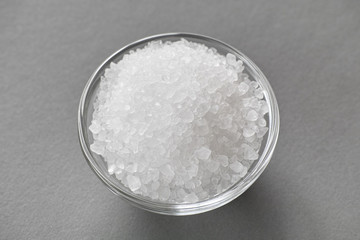 Sea salt in a glass bowl