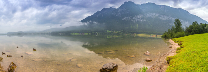 Panorama of Alps mountains in cloudy day, Austria