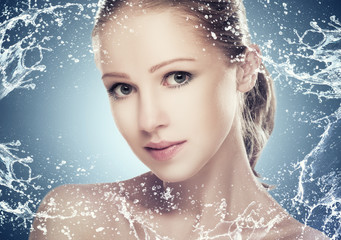 skin care, beautiful girl with splashes and  water
