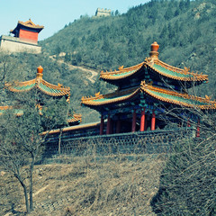 chinese pagoda on hills near Great Wall, China