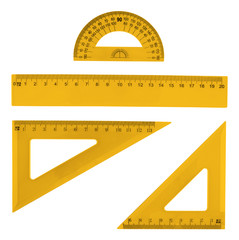 Set of multiple plastic rulers