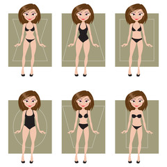 Female body types. Vector illustration