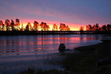 Sunset in Karelia, North of Russia
